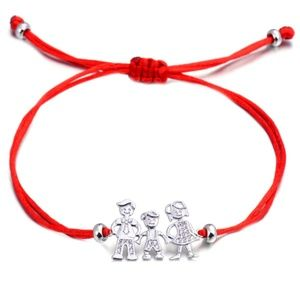 Jewelry - NEW Mom Dad Son Family Silver Red String Bracelet